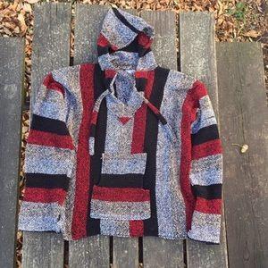 Vintage Baja Hoodie Sweater Drug Rug Poncho